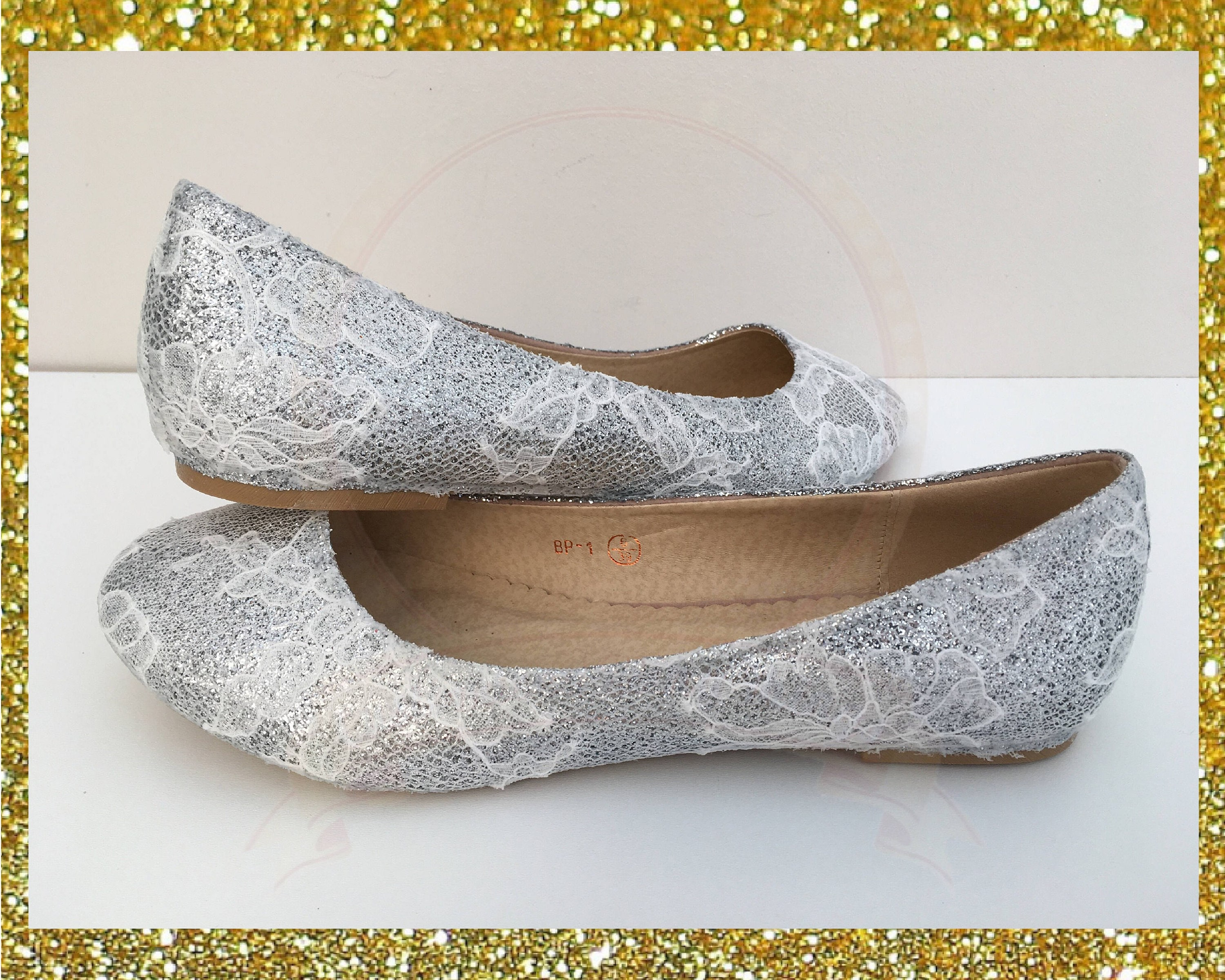 479c156325077 Silver glitter and lace shoes, Silver glitter shoes, Lace bridal shoes,  Glitter and lace flats, Glitter ballerina flats, Silver bridal shoes