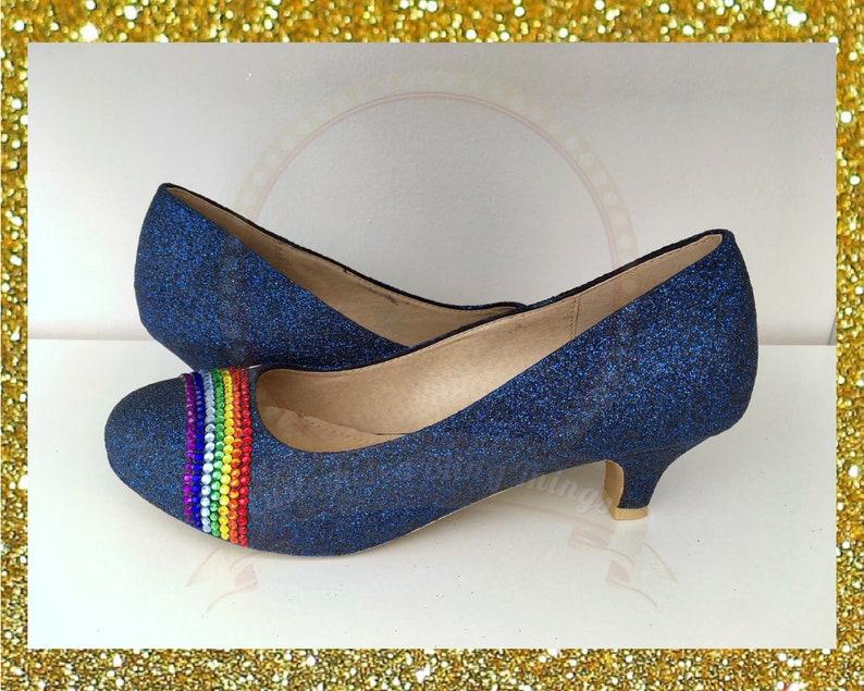 e37978d2 Navy glitter rainbow shoes Crystal rainbow glitter shoes   Etsy