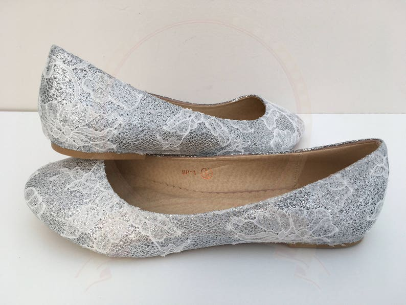 d489380e46b2 Silver Glitter White Lace Flats Bridal Pumps Ballerina Flats
