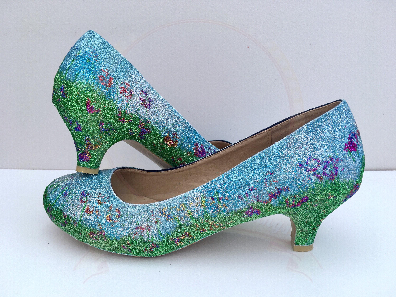 Wedding Kitten Heels: Summer Meadow Kitten Heels Glitter Wedding Shoes