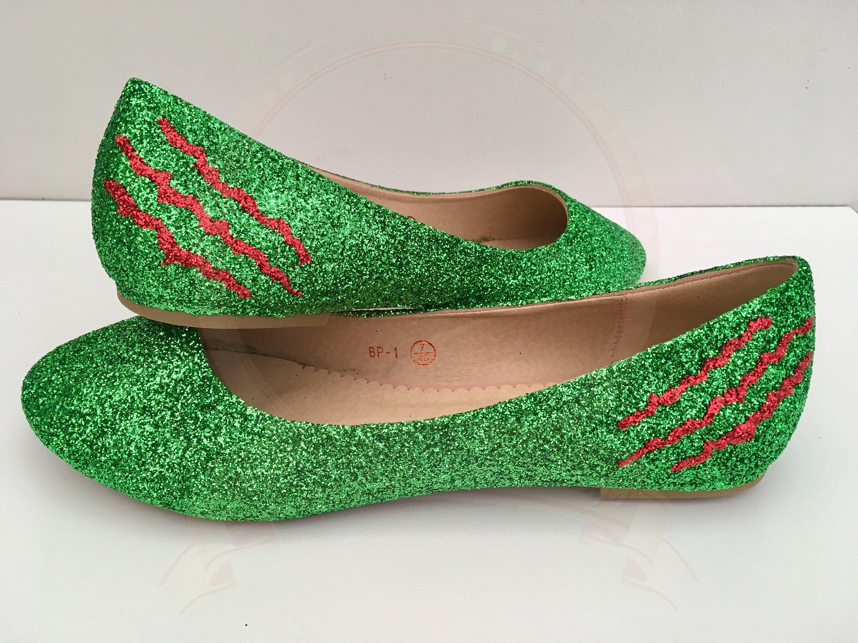 4a96cd050f62 Monster Claw Glitter Flats Green Glitter Pumps Ballerina