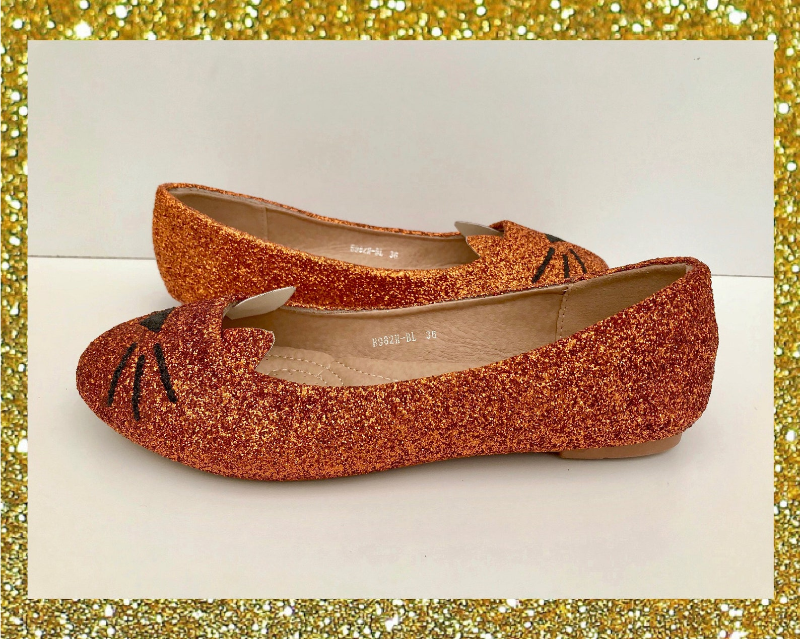 ginger cat ballet flats, cat glitter shoes, custom glitter flats, cute cat shoes womens, ginger tom gift, flat shoes for women,