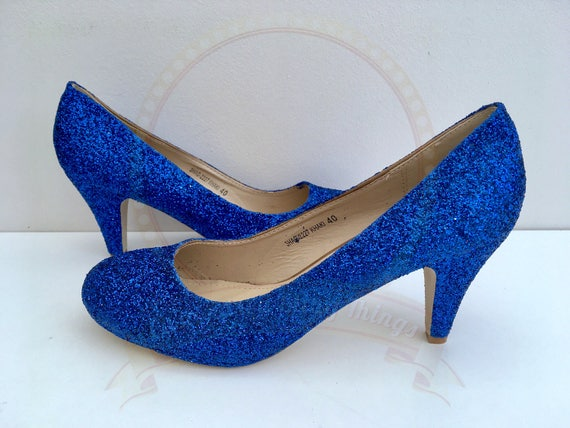 Royal Blue Wedding Heels: Royal Blue Glitter Heels Cobalt Blue Mid Heel Bridal