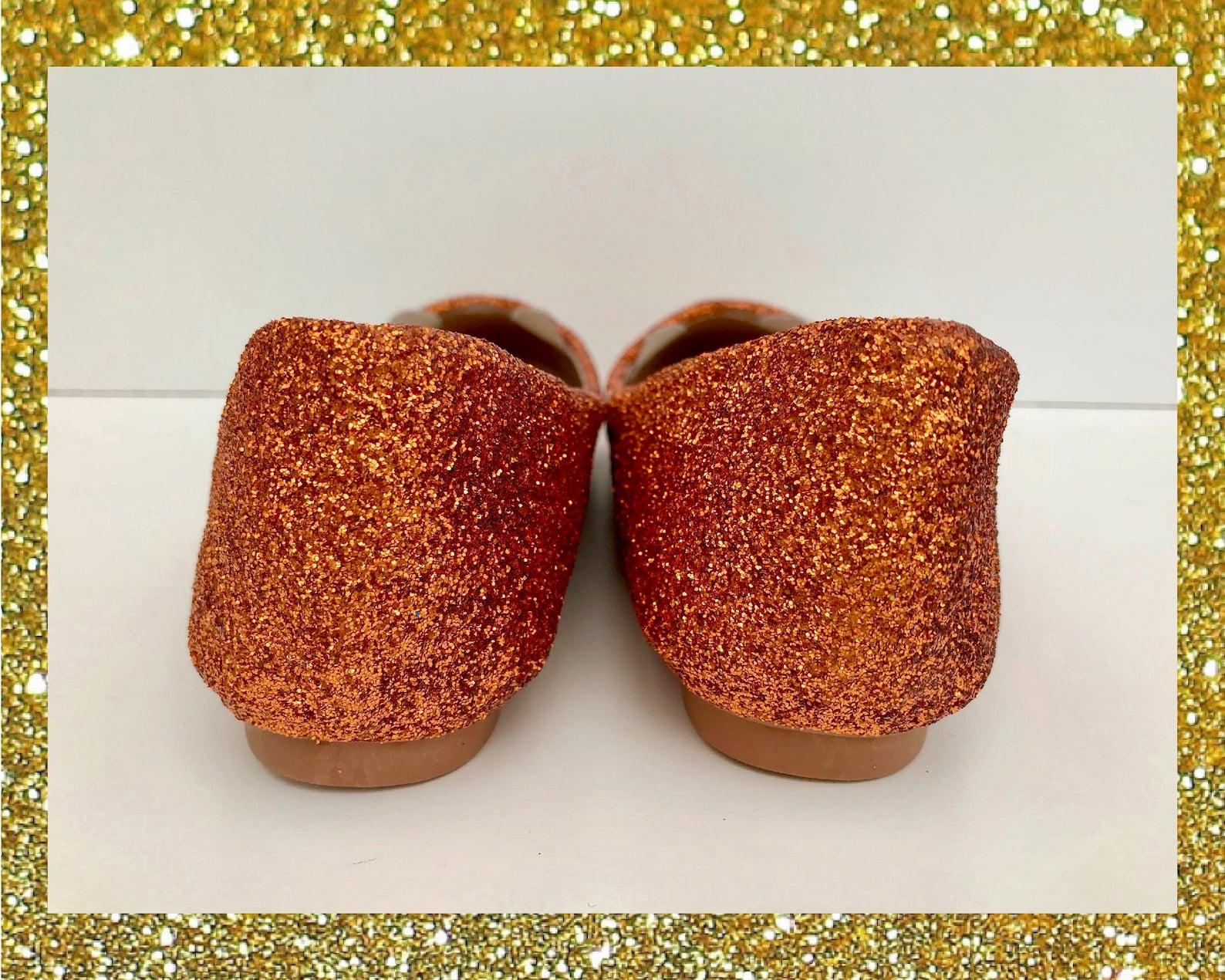 ginger cat ballet flats, cat glitter shoes, custom glitter flats, cute cat shoes womens, ginger tom gift, flat shoes for women,