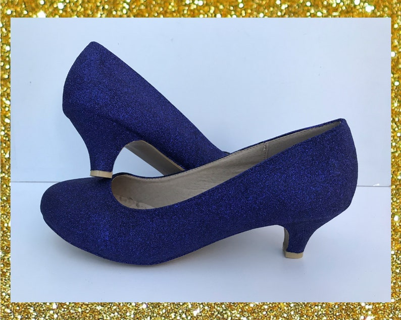 44e1ee7b0295 Navy kitten heels Navy glitter shoes Glitter kitten heels