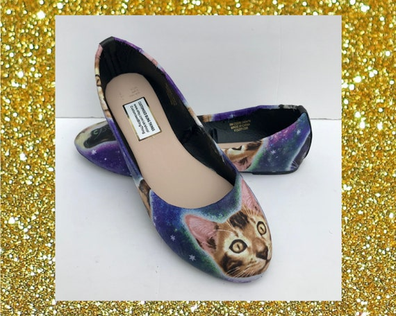 Galaxy cat shoes Cat flat shoes Galaxy