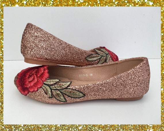 Rose glitter flats Rose gold flats Red
