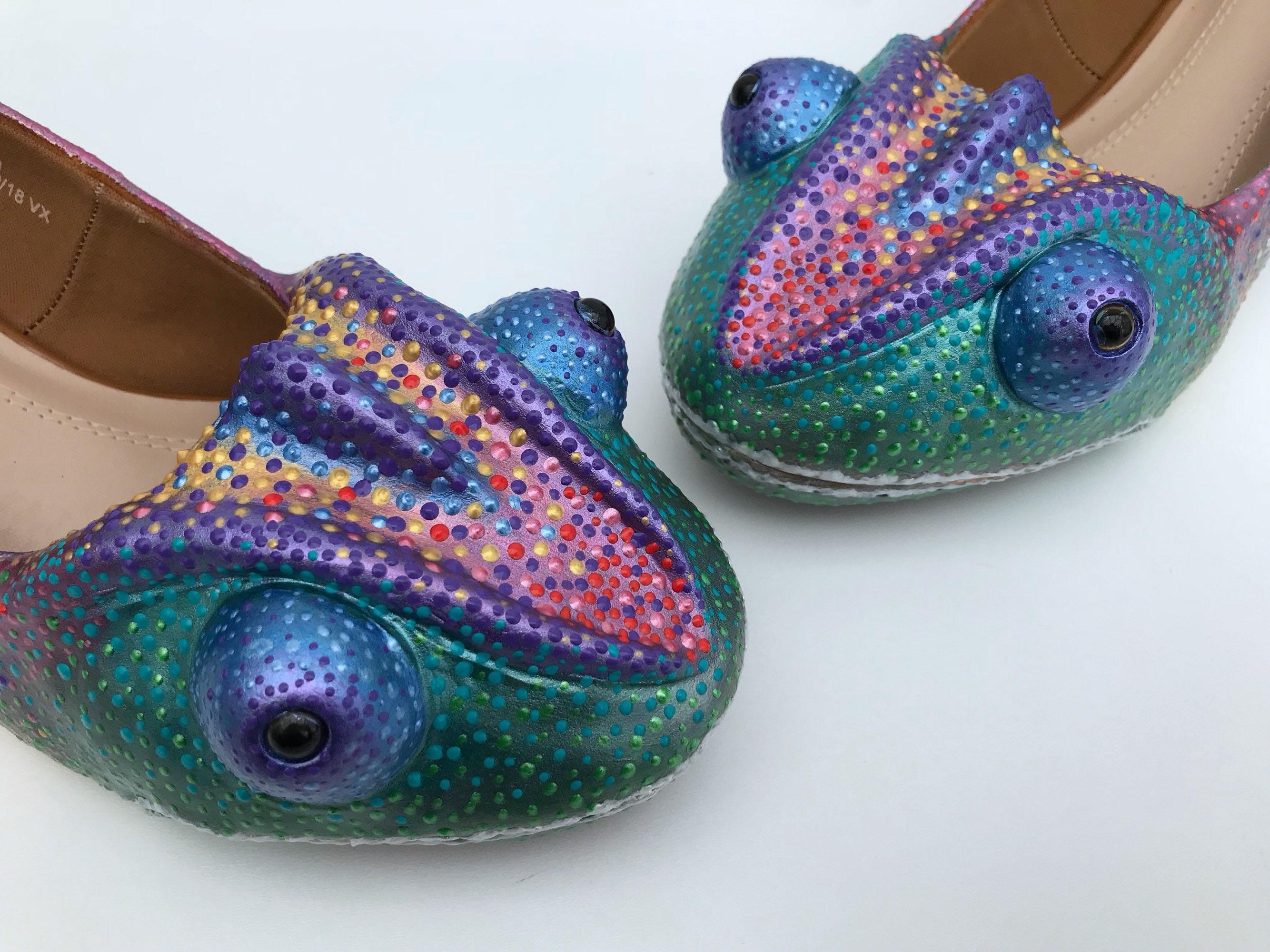 Sculpted Rainbow Chameleon Heels - Sculpted Shoes Shoes - Customised 3D Shoes Sculpted - Animal Shoes - Lizard - Pet - Party - Bridal - Prom - UK size 3-8 1d4a64