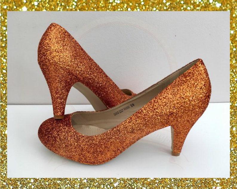 0fe6a1804dc Orange glitter heels Copper glitter shoes Burnt orange