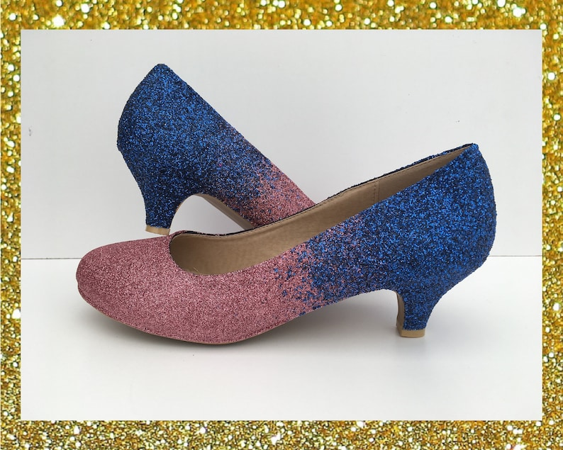 8e6c1abdcf4c2 Navy Blush Ombre Glitter Kitten Heels Bridal Party Wedding Shoes Bridesmaid  Low Heel Customised Shoes UK Size 3 4 5 6 7 8