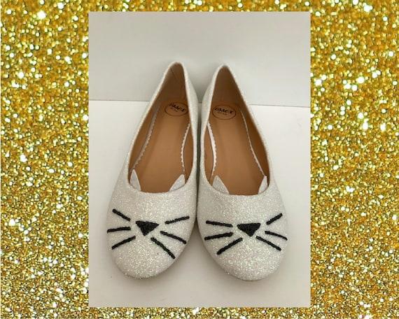 White cat shoes White glitter flats Cat
