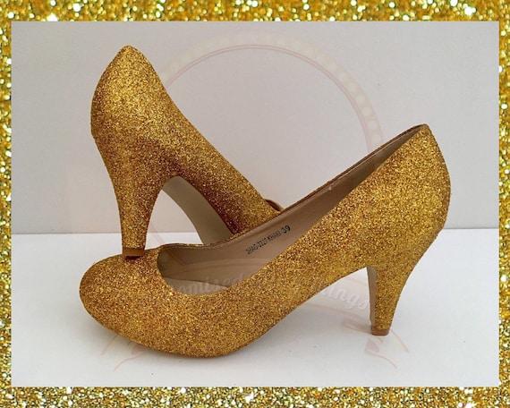 Gold wedding shoes, Gold bridal shoes, Custom wedding shoes, Gold glitter shoes, Bridal heels, Gold heels, Gold glitter heel, Womens shoes
