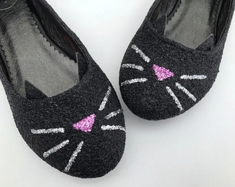 Black Glitter Cat Flats -  Cat Ballerina Shoes - Bridal - Wedding - Bridesmaid - Prom - Party - Customised Shoes - UK Size3-8