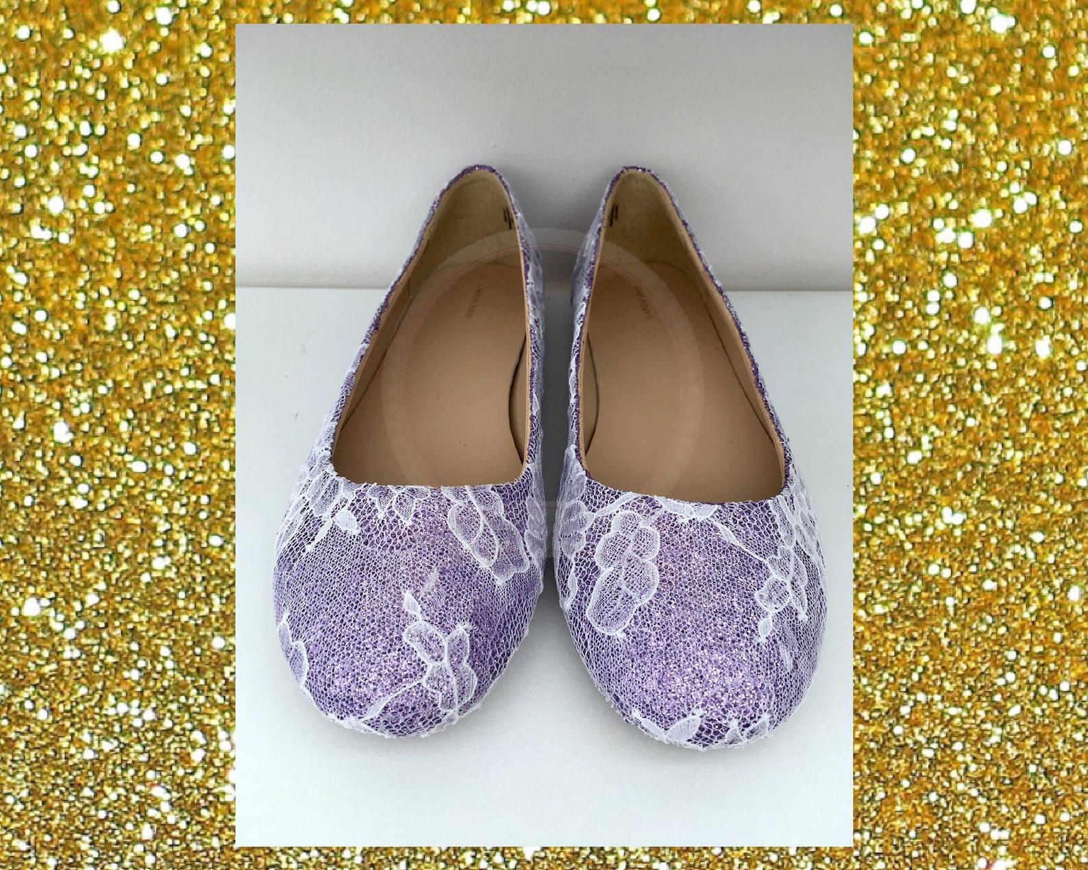 lace wedding shoes, flat wedding shoes, lilac wedding shoes, lace flat shoes, custom wedding shoes, glitter shoes, ballet flats,
