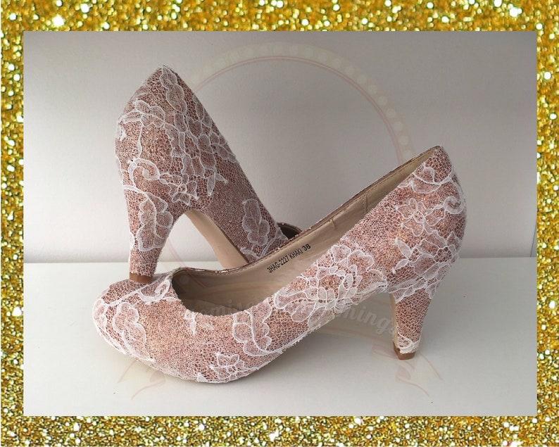 cd77c4c1b Lace bridal heels Rose gold heels Glitter bridal heels Lace