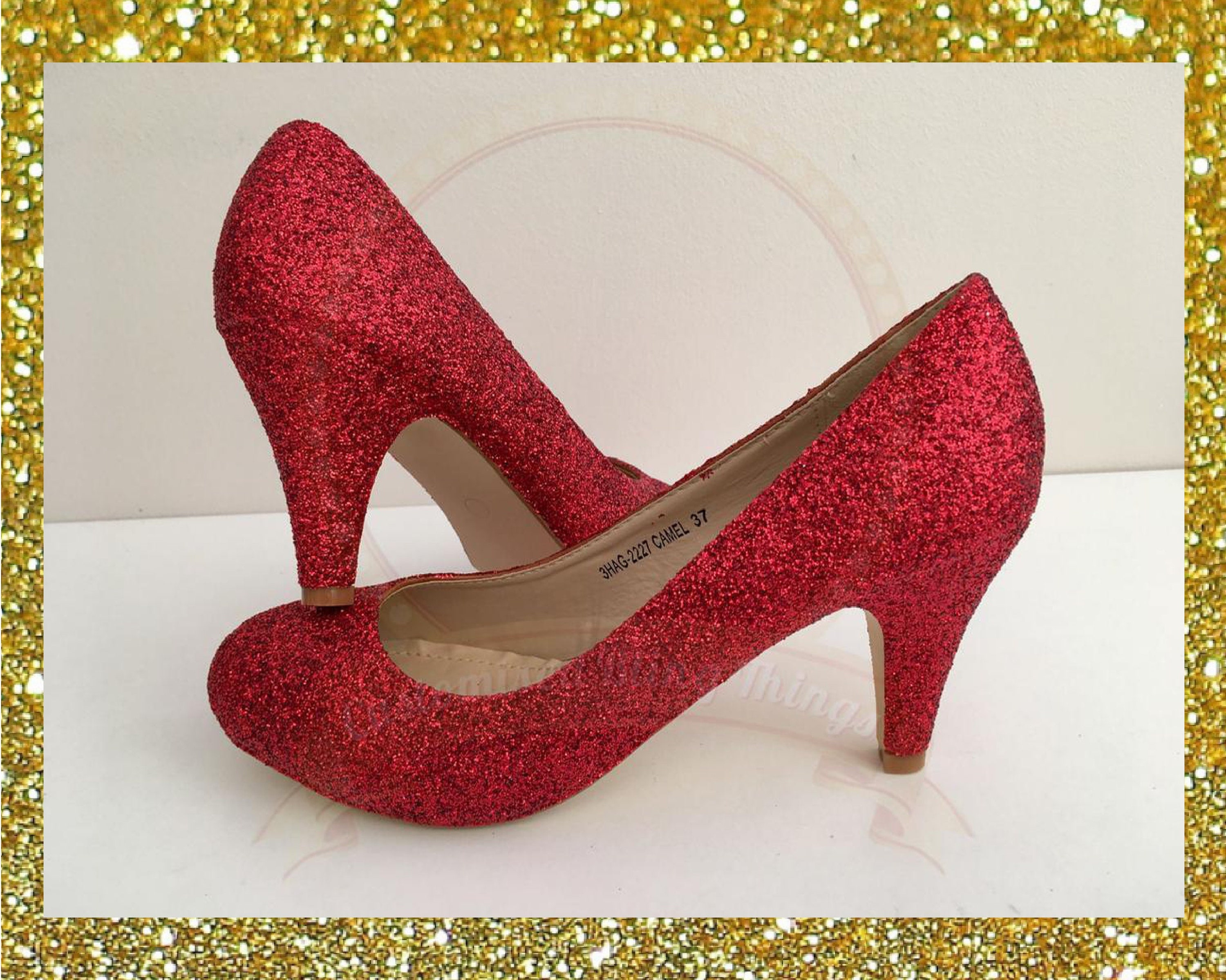 5d6eadf0bbd Red glitter heels Red court heels Red glitter shoes Custom