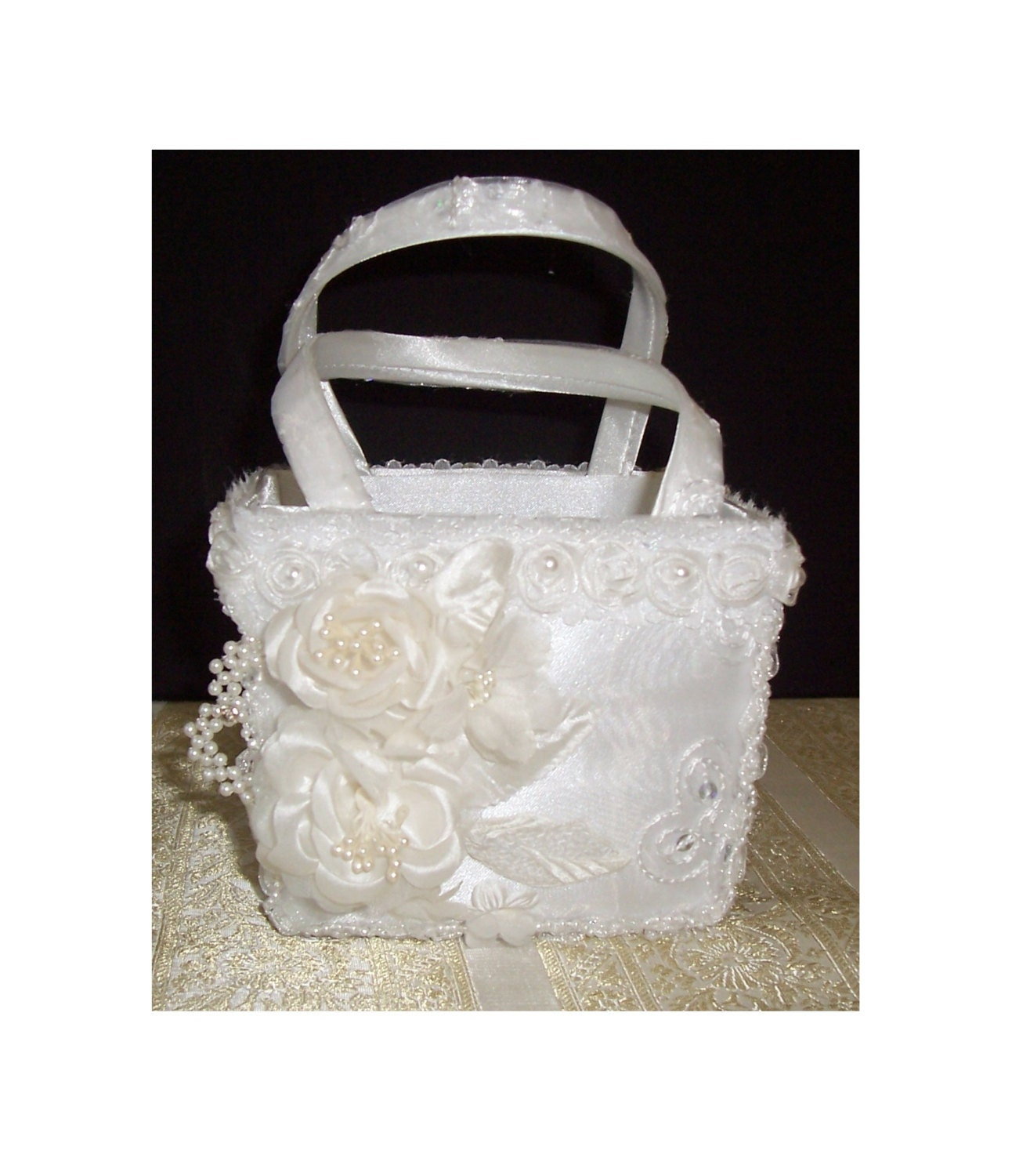 Flower girl basket white satin with organza overlay flower etsy zoom izmirmasajfo