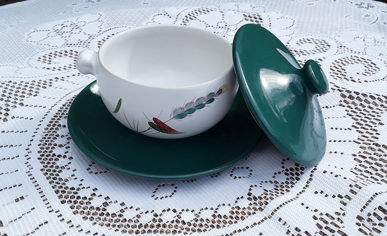 Vintage Denby 'Greenwheat' Lidded Soup Bowl with plate image 0