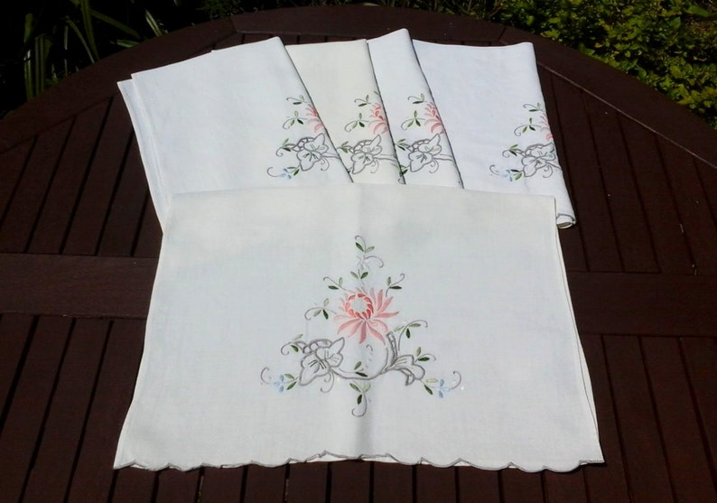 Set of 5 Vintage Hand Embroidered Cream Linen Chair Backs image 0
