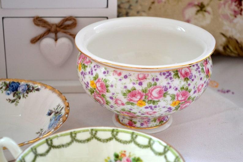 Vintage Chintz China Bowl  Roses and Wildflowers English Bone image 0