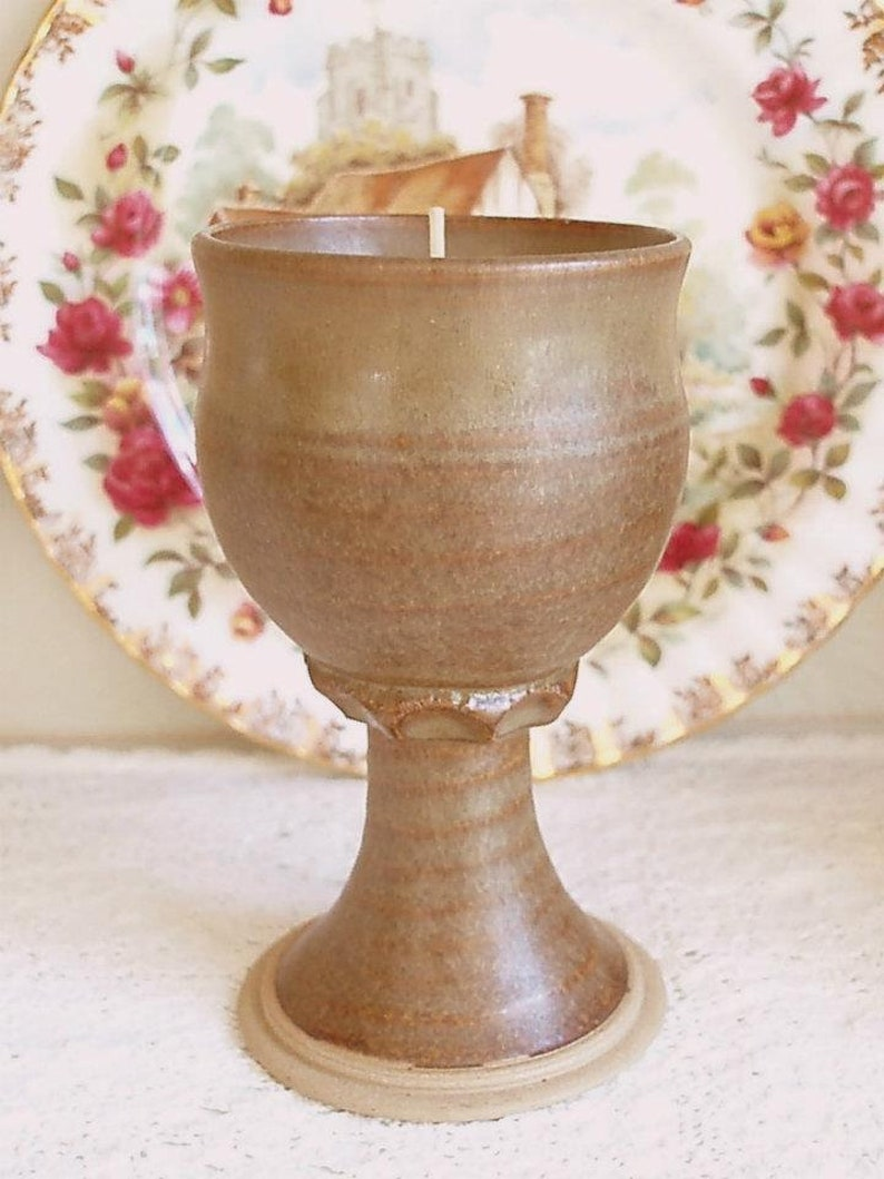 Stoneware Goblet Milk and Honey Scented Soy Wax Candle  Hand image 0