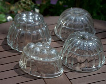 Set of 4 Vintage Traditional Glass Jelly Moulds