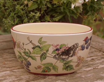 Lovely Vintage Pottery Butterfly and Floral Planter Pot, Dragonflies, Ladybirds, Brambles and Berries