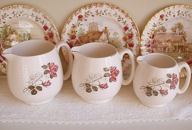 Set of 3 Vintage Beswick Jugs  Ideal for a cottage or country image 0