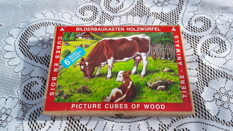 Vintage 1950s Picture Cubes of Wood Childrens Game Wooden image 0