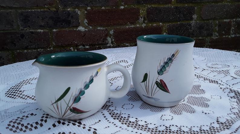 Vintage Denby 'Greenwheat' Cream Jug and Sugar Bowl image 0