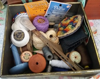 Vintage Tin filled with Vintage Haberdashery, Sewing, Needles, Cottons, Tools