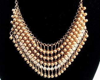 Gold Necklace Statement Jewelry Bib Necklace Bohemian Jewelry Chunky Necklace Gold Jewelry Choker Necklace Beaded Jewelry Wedding Necklace