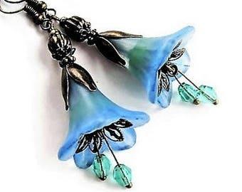 Flower Earrings Bohemian Jewelry Long Earrings Floral Jewelry Blue Earrings Statement Jewelry Gypsy Earrings Blue Jewelry Dangle Earrings