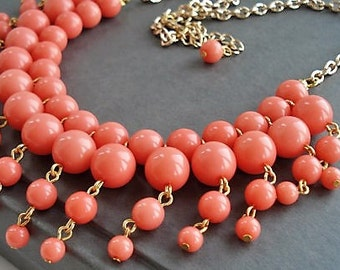 Coral Necklace Bridesmaid Jewelry Set Statement Necklace Coral Jewelry Bohemian Necklace Gift for Women Multi Strand Gold Necklace Gift Idea