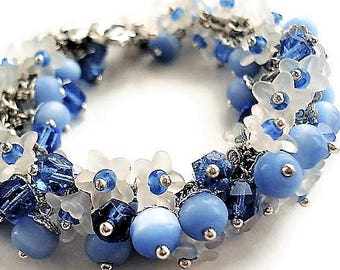 Flower Bracelet Blue Jewelry Charm Bracelet Statement Jewelry Blue Bracelet Floral Jewelry Gift For Women Silver Bracelet Bohemian Jewelry