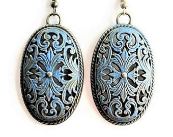 Gypsy Earrings Bohemian Jewelry Patina Earrings Statement Jewelry Gift For Women Boho Earrings Tribal Earrings Ethnic Jewelry Large Earrings