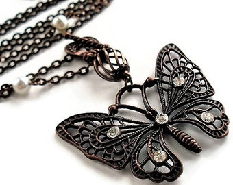 Victorian Necklace Romantic Jewelry Gift Charm Necklace Butterfly Jewelry Pendant Necklace Pearl Jewelry Butterfly Necklace Mothers Day Gift