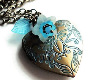 Heart Necklace Gift For Mom Victorian Jewelry Locket Necklace Blue Jewelry Gift Charm Necklace Floral Jewelry Chain Necklace Flower Necklace