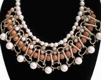 Beige Necklace Statement Jewelry Set Multi Strand Pearl Necklace Beaded Jewelry Chunky Necklace Bohemian Jewelry Bib Necklace Pearl Jewelry