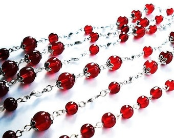 Extra Long Red Necklace Statement Jewelry Silver Necklace Everyday Jewelry Long Necklace Red Jewelry Beaded Necklace Glass Jewelry Gift Idea