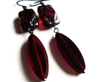 Red Earrings Bead Jewelry Long Earrings Red Jewelry Boho Earrings Statement Jewelry Bridesmaid Gift Gypsy Earrings Gift Idea Dangle Earrings