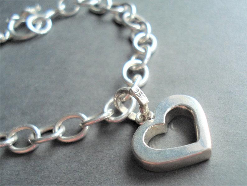 Sterling Silver Heart Bracelet Modern Jewelry Charm Bracelet Heart Jewelry Silver Bracelet Anniversary Gift Silver Jewelry Chain Bracelet