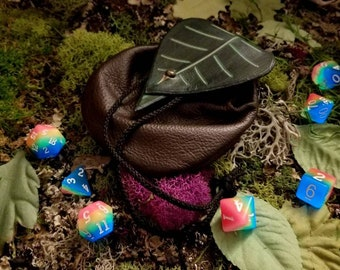 Leather Dice Bags With Leaf Closure GLOWS