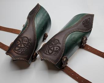 Leather Celtic Elf Elvin Bracers - Arm Guards Gauntlets