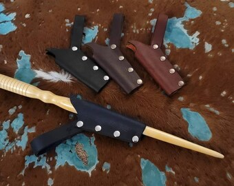 Small Leather Wand Holster Sheath