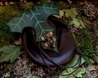 Leather Elven Maple Leaf Dice Bag GLOWS