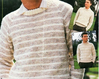 5e8bccae03091b Vintage mens chunky sweater knitting pattern PDF bulky striped or plain  jumper 34-46 inch chunky bulky 12ply Instant Download