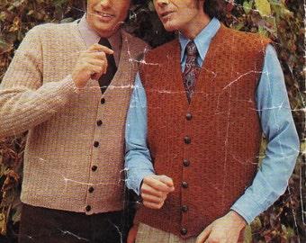"Vintage mens 4ply / DK cardigan waistcoat knitting pattern pdf patterned jacket v neck 36-46"" 4 ply DK 8 ply light worsted Instant download"