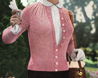 """Vintage womens 4ply cardigan knitting pattern PDF womens round yoke fitted jacket 32-42"""" 4 ply pdf instant download"""