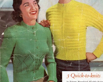"""vintage womens DK cardigans knitting pattern pdf ladies round neck jackets fitted 34-36"""" DK light worsted 8 ply pdf instant download"""